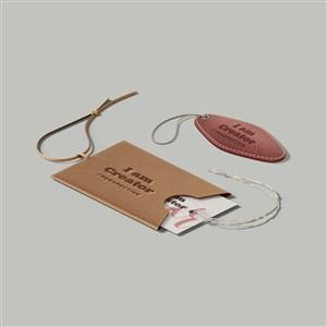 皮质吊牌标签样机素材