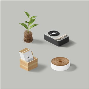 卡片绿植录音机样机素材