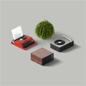 绿植录音机打字机样机素材