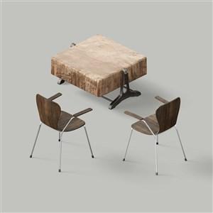 桌椅家具样机素材