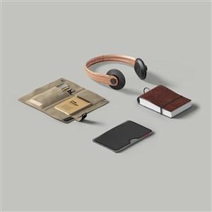 耳机笔记本笔袋样机素材