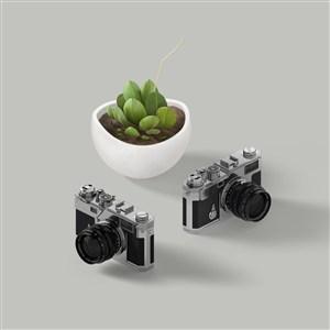 绿植盆栽相机样机素材