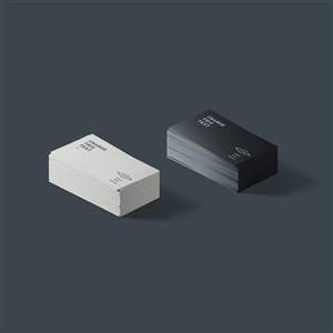 黑白两色名片样机素材