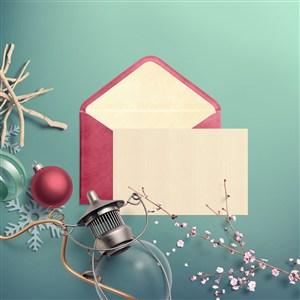 圣誕節信紙信封唯美場景樣機