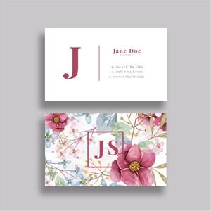 时尚花卉背景名片模板