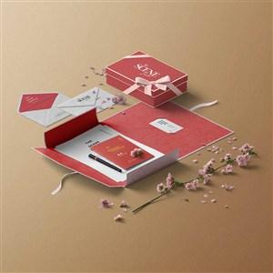 紅色文藝桌面禮盒信封樣機