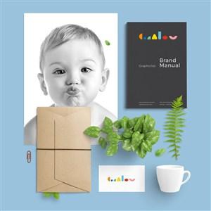 婴幼儿品牌VI贴图样机