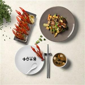 高端中餐餐盘贴图样机