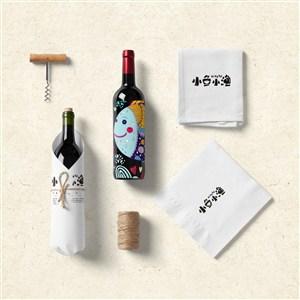 高端中餐VI红酒包装样机
