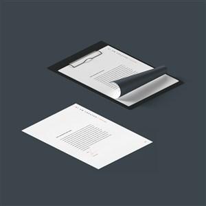 文件夹板A4纸夹板样机素材