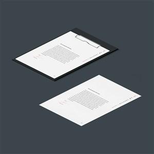 A4纸张文件夹板样机素材