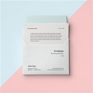 创意信封设计样机贴图模板
