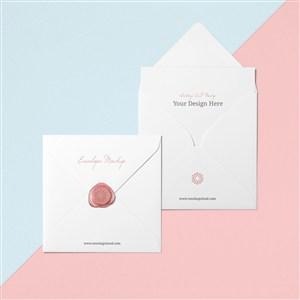 创意信封设计贴图样机