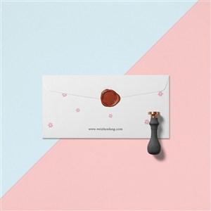 创意蜡封信封设计样机贴图