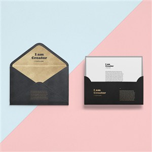 黑色创意信封设计样机