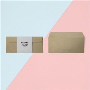 牛皮紙創意信封設計樣機素材