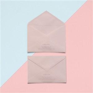 粉色創意信封設計樣機