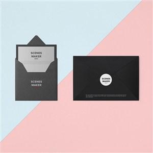 創意黑色信封設計樣機
