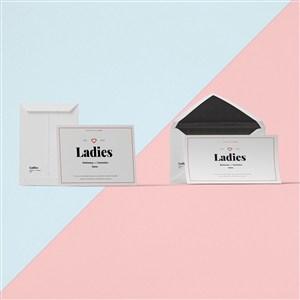 创意信纸信封设计样机