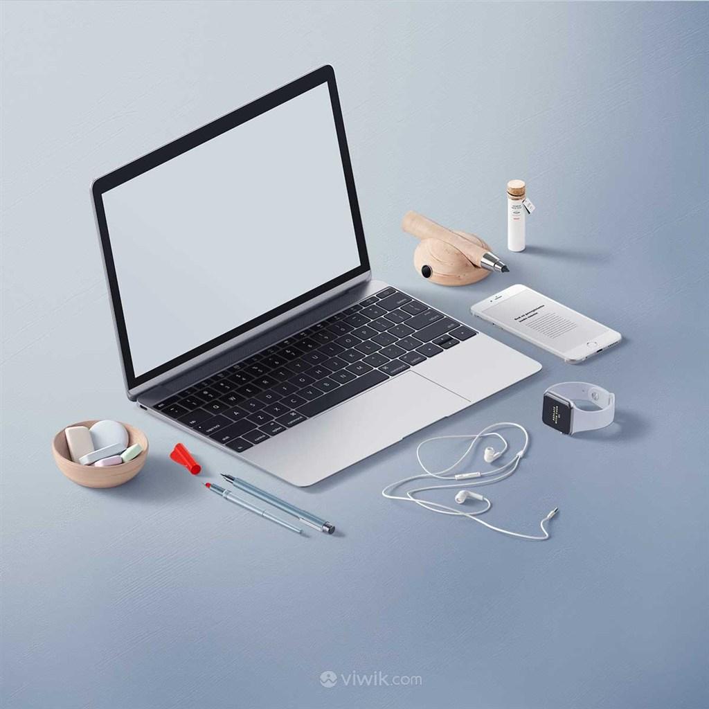 创意简约手提电脑办公桌面样机素材