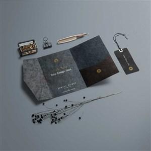 時尚豪華桌面邀請卡吊牌樣機