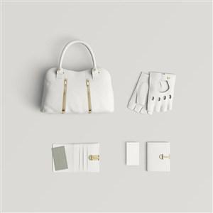 女性时尚品牌手提包钱包手套样机