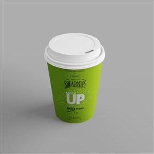 绿色咖啡纸杯样机