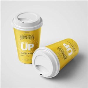 黃色咖啡杯樣機模板