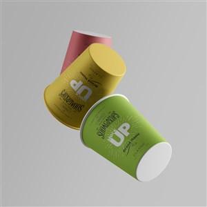 彩色咖啡纸杯贴图样机