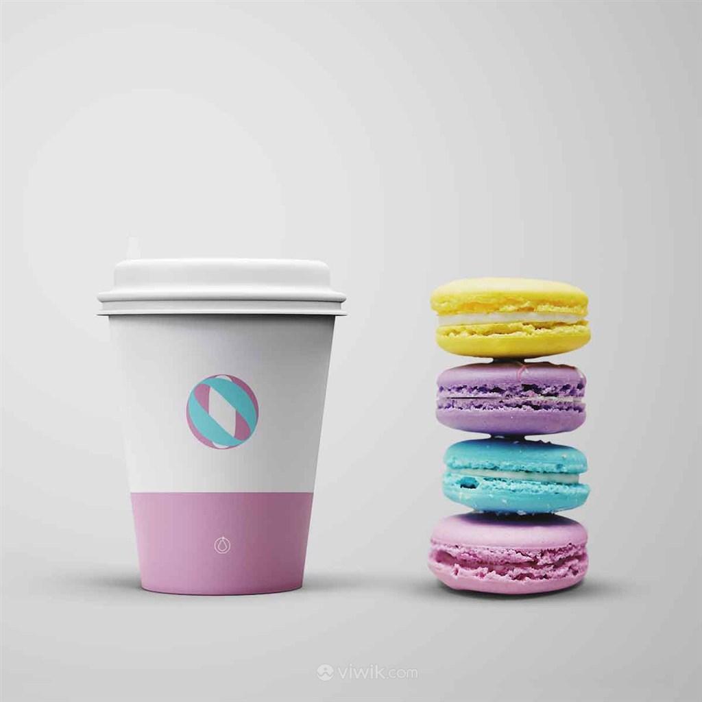 清新马卡龙色咖啡纸杯样机