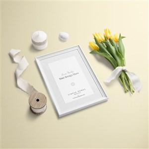 小清新文艺时尚桌面相框绸带郁金香摆件样机