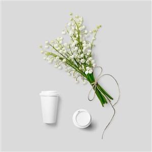鲜花杯子样机素材