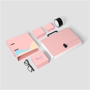 粉色办公用品VI贴图样机模板