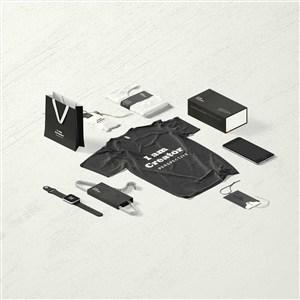 黑色精美辦公用品VI貼圖樣機
