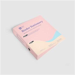 办公用品粉色资料册vi样机