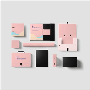 粉色办公用品VI贴图