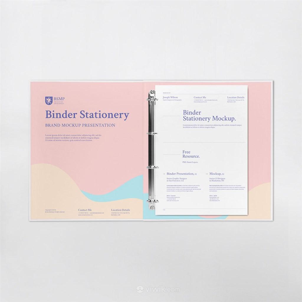 办公用品打开的文件夹vi样机