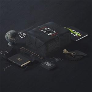 精美黑色办公用品vi包装样机素材