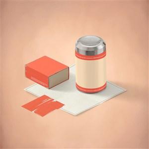 精美办公用品vi保温瓶样机素材