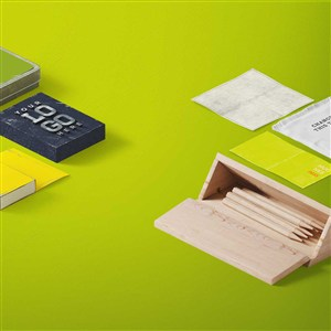 精美辦公用品vi鉛筆木盒樣機素材