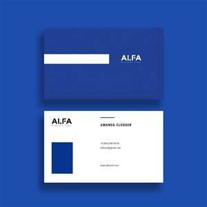 蓝色个性商务名片设计模板