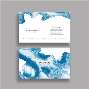 水纹背景商务名片设计模板