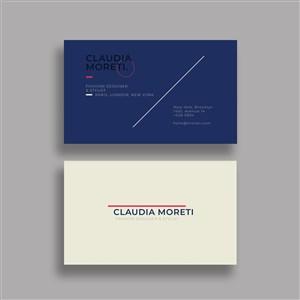 藍色簡約商務名片設計模板