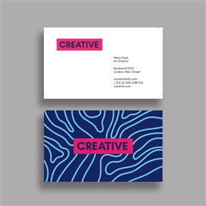 蓝色创意商务名片设计模板