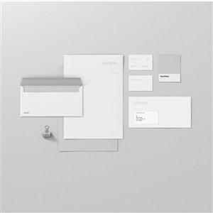 灰色品牌VI貼圖樣機