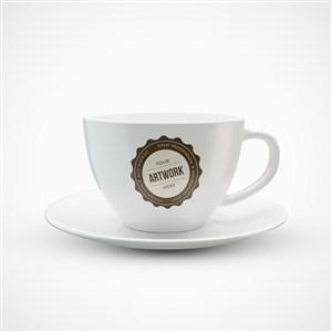 精美白色咖啡杯贴图样机