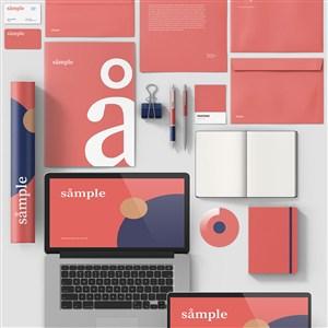 紅色品牌vi貼圖模板