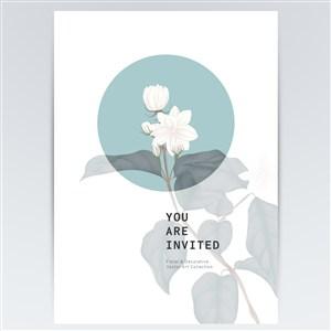 白色鲜花花纹海报背景素材