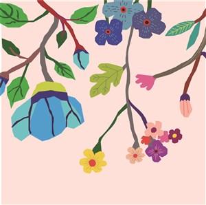 扁平化矢量花卉背景底纹素材