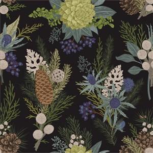 古典线描木刻浆果植物
